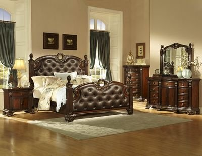 Homelegance Orleans Poster Bed W/ Dark Brown Lleather Headboard & Footboard In Dark Cherry - California King