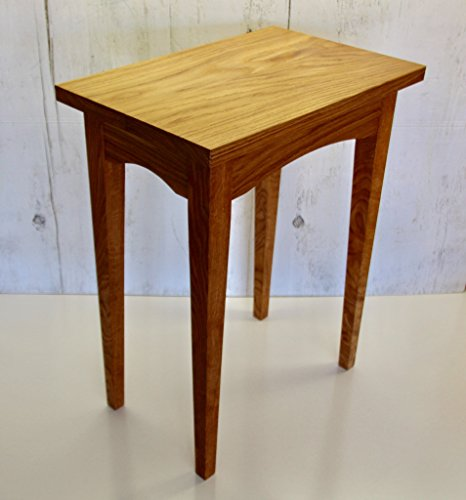 Wooden White Oak End Table, Hand Made Shaker Style with Tapered Legs Artisan Oak Rectangular Table