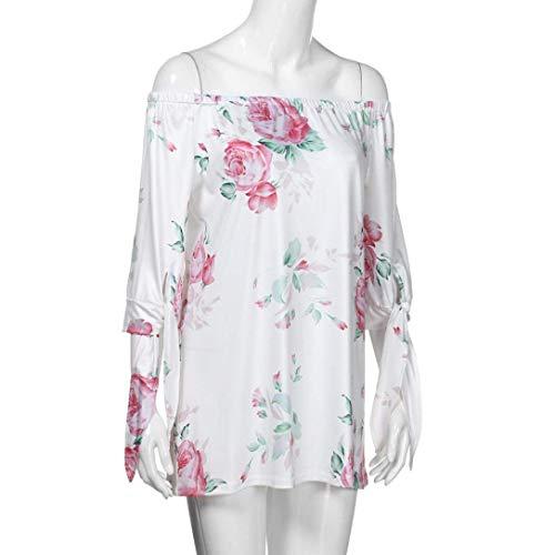 T Bouffant Shirt Blanc Shirts Fleurs Femme Style Et Outdoor Nues T Manches 3 Impression Spcial Elgante Bateau Mode Modle paules Bandage Top Confortable 4 Encolure Shirt AAdqHrw