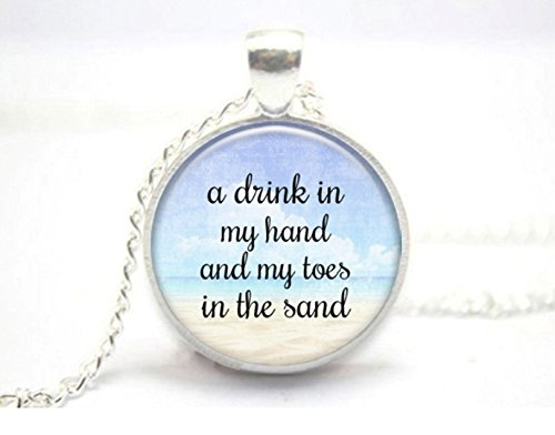 A Drink in my Hand, My Toes in the Sand Glass Tile Necklace