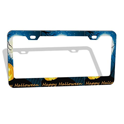 (VOIDPF Appy Halloween Witch Pumpkin Customized Aluminum Metal License Plate Frame Tag)