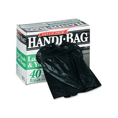 "Webster HAB6TL40 Plastic Handi Bag Trash Bag, Super Value Pack, 0.7 Mil, Flat Seal, 40"" x 32.5"", Black (Pack of 40)"