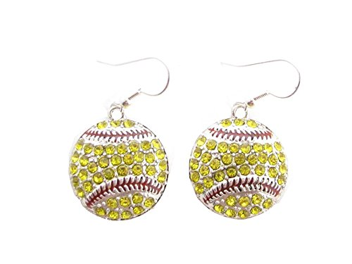 Softball Yellow Crystals Red Stitching French Hook Earrings (Girls Softball Earrings)