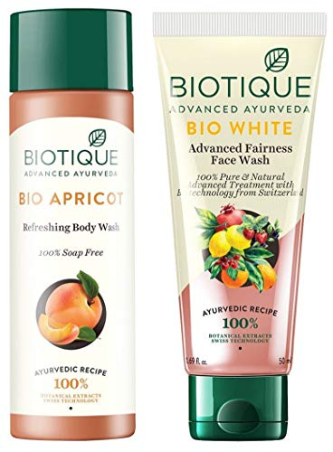 Biotique Bio Apricot Refreshing Body Wash, 190ml & Biotique Bio White Advanced Fairness Face Wash, 150ml 2021 July Product 1: Quantity: 190ml; Item Form: Foam Product 1: Fresh-foaming, 100% soap-free gel is a refreshing gel; Contains Apricot, Kernel Oil, Wild Turmeric, kurchi and soap nut Product 1: It cleanses without dehydrating removing all microbes and pollutants