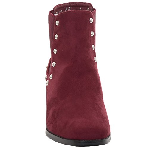 Studded Chunky Wine Faux Chelsea Ankle ® Suede Style Block Boots Heeled Ladies BOUTIQUE FANTASIA ZOqCwIYn
