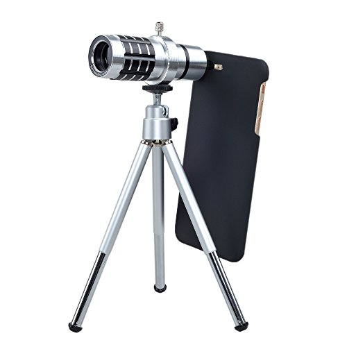 12X Zoom Telephoto Lens With Tripod Mount And Back Case Silver - 1