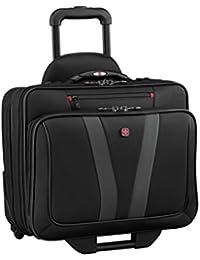 Luggage Granada Pro Padded Wheeled Laptop Bag With Pass-Thru, Black, 15.6-inch