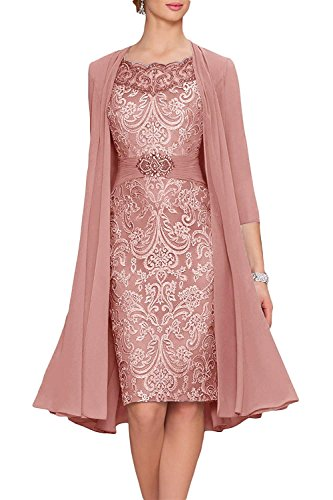 Newdeve Chiffon Mother of The Bride Dresses Tea Length Two Pieces with Jacket Dusty Rose