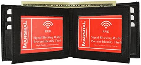 Marshal Bifold Leather RFID Blocking Wallet For Men & Women | Genuine Leather Holder With 9 Slots, 2 Bill Compartments & 2 ID Window | Money, Driver's License, Travel & More with Organza Gift bag