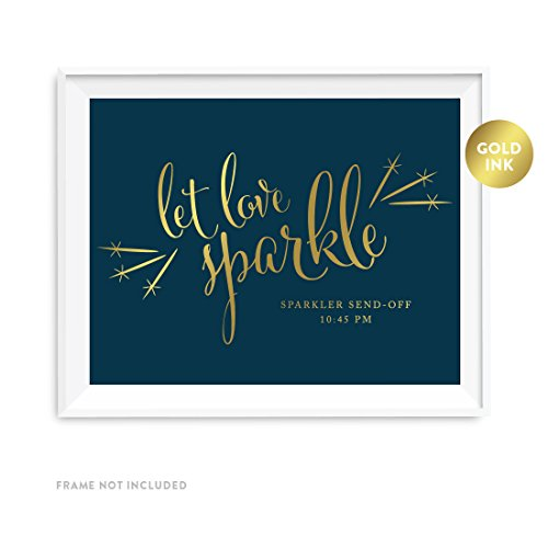 Andaz Press Personalized Wedding Party Signs, Navy Blue with Metallic Gold Ink, 8.5x11-inch, Let Love Sparkle, Sparkler Send Off, 1-Pack, Custom Made Any Time