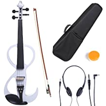 Cecilio CEVN-3W Ebony Fitted Silent Electric Violin, Style 3, Metallic White, Size 4/4 (Full Size)