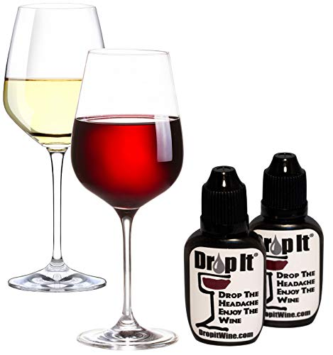 Amazon.com: Drop It Wine Drops, 2pk - Natural Wine Sulphite and Tannin Remover - Drop the Wine Headache, Enjoy Your Wine - Portable and Discrete - Forget Wands or Filters, Treats 110 Glasses of Wine: Kitchen & Dining
