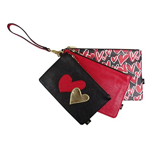 INC International Concepts Women's Set of 3 Faux Leather Pouches (OS, Red)