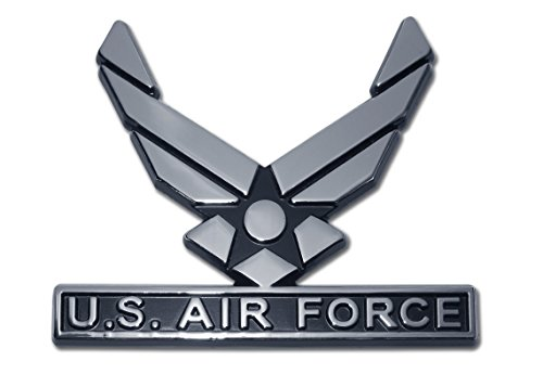 Air Force (Wings) Chrome Auto Emblem Air Force Car Decals