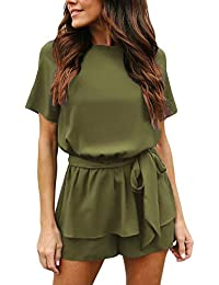 9f8e7e10715 Women s Casual Short Sleeve Belted Overlay Keyhole Back Jumpsuits Romper