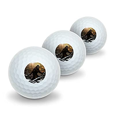 Bigfoot Sasquatch Walking in the Woods Novelty Golf Balls 3 Pack