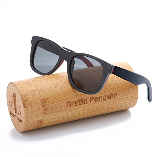 Arctic Penguin Skateboard Wooden Polarized Wayfarer Sunglasses (Black, - Glasses Skateboard