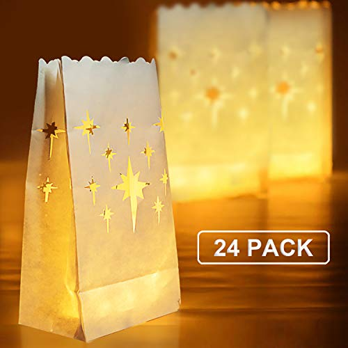 Homemory 24 PCS White Luminary Bags, Flame Resistant Candle Bags, Stars Design Light Holder for Wedding, Halloween, Birthday, -