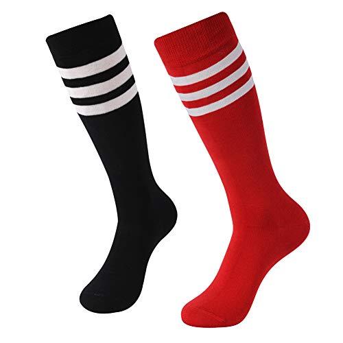 SUTTOS Unisex Knee High Triple Stripe Athletic Soccer Tube Sock 2 Pairs]()