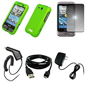 EMPIRE Neon Green Rubberized Hard Case Cover + Mirror Screen Protector + Car Charger (CLA) + Home Wall Charger + USB Data Cable for AT&T HTC Freestyle