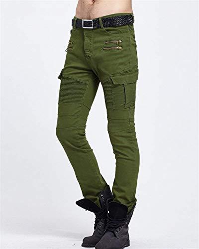 Lanceyy Slim In Stretch Multitasche Con Skinny Cerniera Cargo Stile Jeans Motociclista Fit Denim Grün Semplice Casual Uomo Da Pantaloni Vintage rPOrxwga