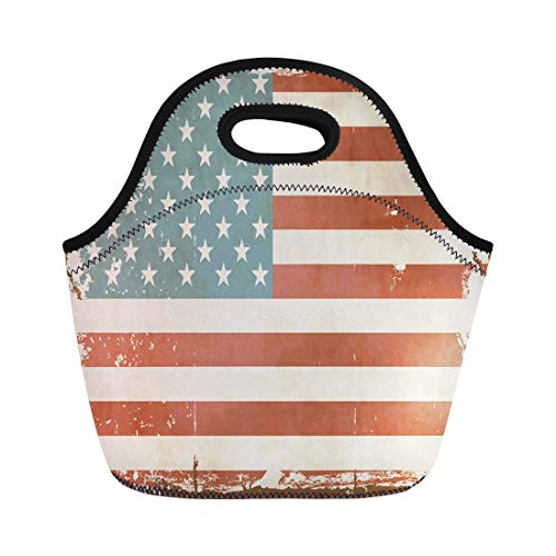 (Semtomn Lunch Tote Bag Blue Americana Vintage American Flag Tin Sign Brown 1950S Reusable Neoprene Insulated Thermal Outdoor Picnic Lunchbox for Men Women)