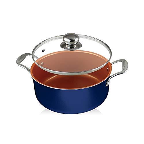 Cacerola de wok antiadherente de 4.7 qt con tapa base de inducción antiadherente de cerámica con tapa de vidrio, olla, olla, sartén, lavavajillas y horno ...