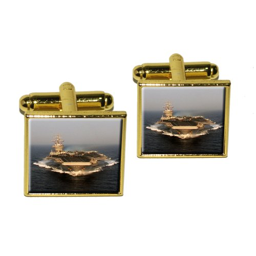 Gold United States Air (United States Navy Aircraft Carrier USS Dwight D. eisenhower Square Cufflink Set - Gold)