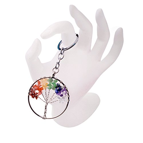 Joya Gift Charm Tree of Life Natural Crystal Stone Handmade DIY Multicolored Gravel Circle Keychain Pendant Necklace