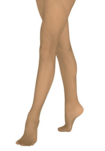 (Grandeur Hosiery Girls' Kids Children's Seamless Fishnet Dance Ballet Tights Pantyhose Stockings Suntan)