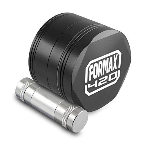 FORMAX420-CNC-Metal-Hex-Herb-Grinder-4-Piece-25-Inch-with-Pollen-CatchPollen-Press-Color-Black