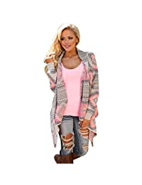 Changeshopping Women Geometric Printed Cotton Kimono Cardigan Coat Cover up Tops