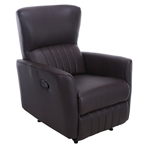 Giantex Recliner Chair PU Leather Lounger Club Manual Home Theater Seating Ergonomic Reclining Sofa Chair (Brown Leather Home Theater Extension)