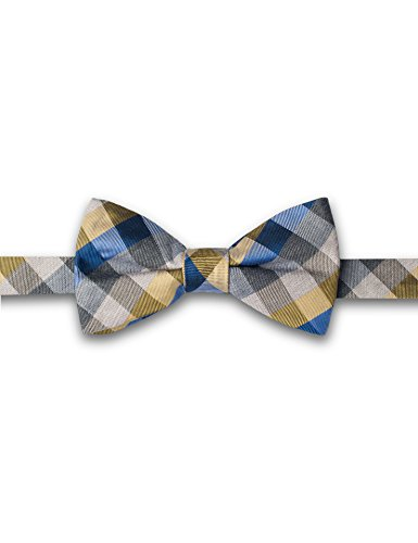 ORIGIN TIES Men's Fashion 100% Silk Plaid Butterfly Bow Tie Cocktail Blue