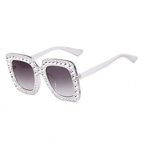 Crystal Rim Women Sunglasses Retro Brand Desginer Square Oversize Sun - Grey Tortoiseshell Sunglasses