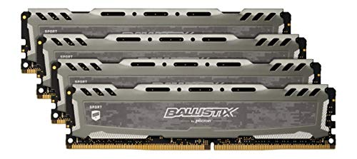 (Ballistix Sport LT 64GB Kit (16GBx4) DDR4 3200 MT/s (PC4-25600) CL16 DR x8 DIMM 288-Pin Memory - BLS4K16G4D32AESB (Gray))