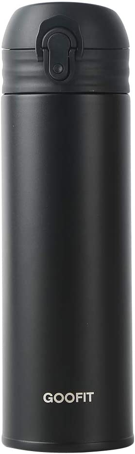 GOOFIT Water Bottle Double Wall Vacuum Insulated Thermos Beverage Bottle Stainless Steel Travel Mug 10 Ounce Black