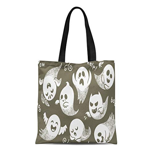 Semtomn Cotton Canvas Tote Bag Halloween of Cute Cartoon Ghosts Different Faces Pattern Boo Reusable Shoulder Grocery Shopping Bags Handbag Printed