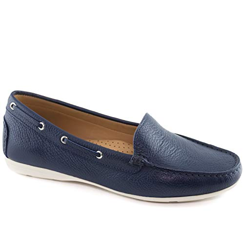 Driver Club USA Womens Leather Made in Brazil Cape Cod Loafer Driving Style, Navy Grainy, 7.5 B(M) US