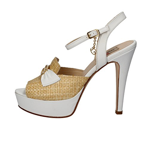 BRACCIALINI Sandals White Beige Leather Textile AH381 (7 US / 37 EU)