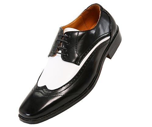 Amali Mens Two Tone Faux Leather Wingtip, Formal Lace-Up Oxford Tuxedo Dress Shoe
