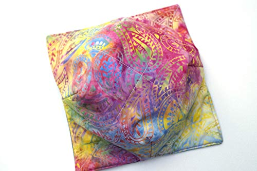 (Batik Fabric Microwave Bowl Cozy with Colorful Paisley Pattern)