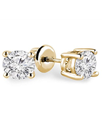 Solitaire Inspire 925 Sterling Silver Lab White Diamond Stud Earrings Men Women Jewelry ()