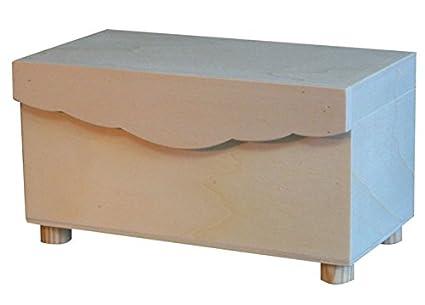 Caja de madera con ondas y patas. Interior con división. Madera en crudo,