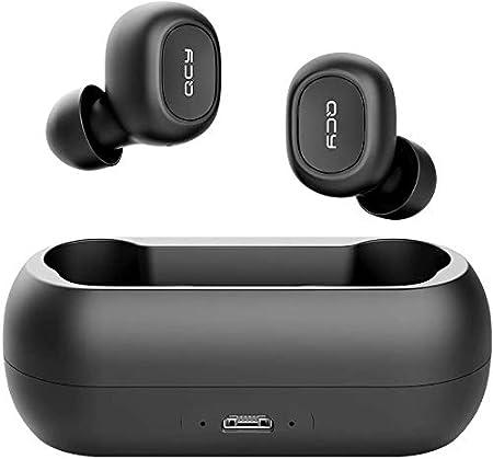 QCY-T1 TWS - Auriculares Deportivos con Bluetooth 5.0, inalámbricos, más de 20 Horas de duración de la batería con Cargador, IPX4 Resistente al Agua y micrófono Dual HD Integrado (Negro).