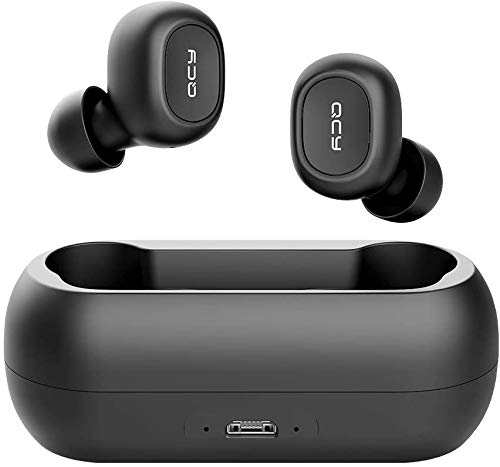 QCY T1 True Wireless Earbuds with Uncapped Charging Case, TWS 5.0 Bluetooth Headphones, Black