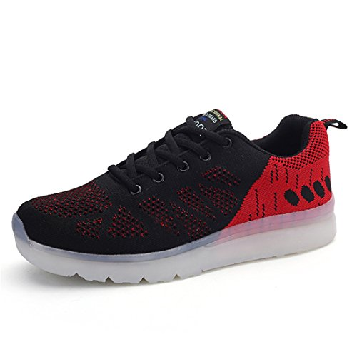 Zapatos coloridos luminosos LED zapatos fluorescentes luces recargables zapatos casuales zapatos USB emisores de luz de los hombres de los zapatos que vuelan tejidas Negro,rojo