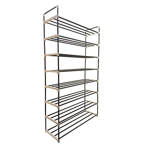 Zapatero organizador de 8 niveles, soporte de banco de almacenamiento para hombre y mujer, clóset con estantes de hierro con...