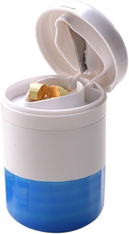 SUPVOX Multifunción píldora trituradora Splitter Pill Pulverizer Grind Medicina Cut Tablets divisor caja de almacenamiento perfecto para el hogar y el viaje (azul)