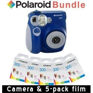 dbb2990a62d26 Polaroid 300 appareil photo instantané en bleu 5 Film Paquet rapide ...